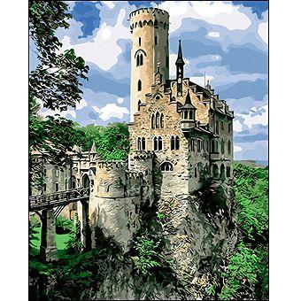Роспись по холсту Замок на скале 40х50см